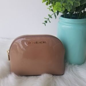 Michael Kors Tan Patent Leather Travel Pouch